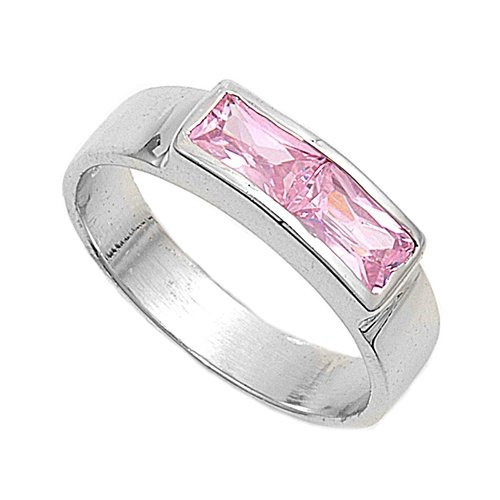 Sterling Silver Baby Ring with Pink CZ - 3mm Band Width - 4mm Face Height - Sizes: 1-4, 3