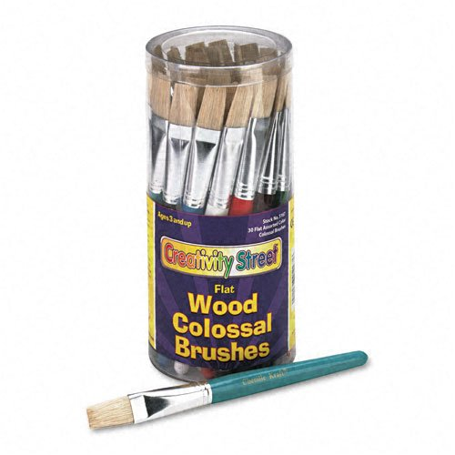 Chenille Kraft® Flat Natural Bristle Colossal Brushes, Colored Wood Handles, 30 per Container