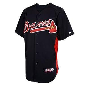 MLB Majestic Atlanta Braves Batting Practice Performance Jersey - Navy Blue by Majestic