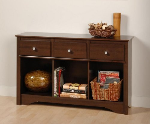 Cheap Prepac Living Room Console Table with Three Drawers in Espresso ELC-4830 (ELC-4830)