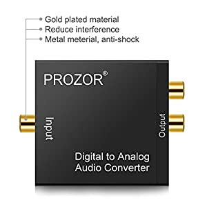 PROZOR Digital to Analog Converter DAC Digital SPDIF Toslink to Analog Stereo Audio L/R Converter Adapter with Optical Cable for PS3 XBox HD DVD PS4 Home Cinema Systems AV Amps Apple TV