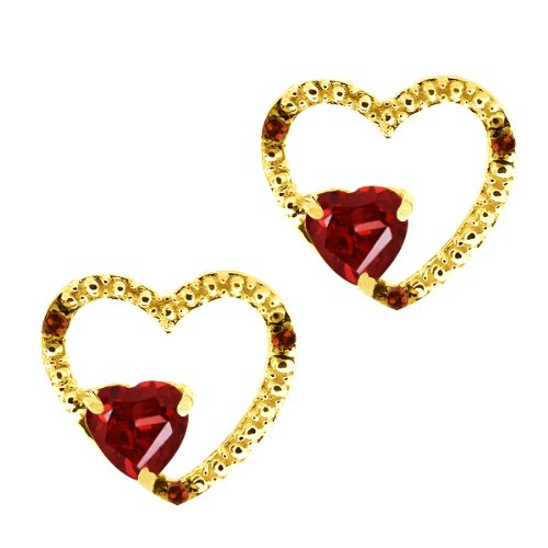 1.14 Ct Heart Shape Red Garnet and Diamond Gold Plated Silver Earrings