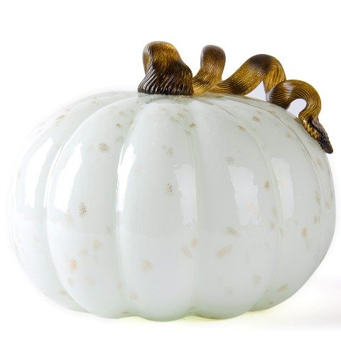 Glitzhome 8.5 in. D Glass Pumpkin