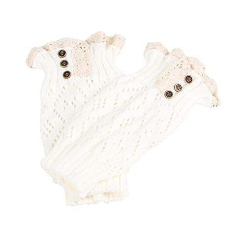 Womens Leg Warmers Knitted Crochet Lace Trim Boot Cuffs Toppers Socks W/ Button Color:white
