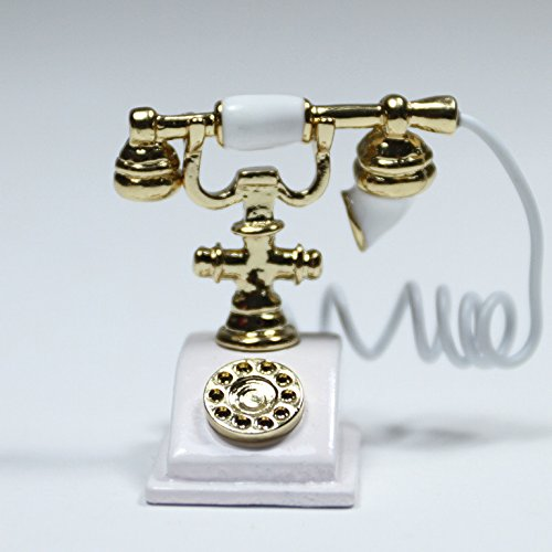 White Old-Fashioned Rotary Phone Telephone W/Receiver Miniature Dollhouse Toy