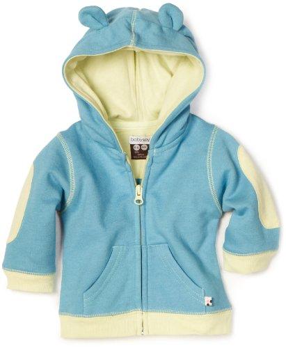 Babysoy Baby-Boys Newborn Soft Fleece Hoodie, Ocean, 12-2