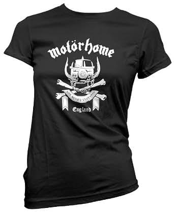 Motorhome Womens Girls Black T-Shirt Top (Small)