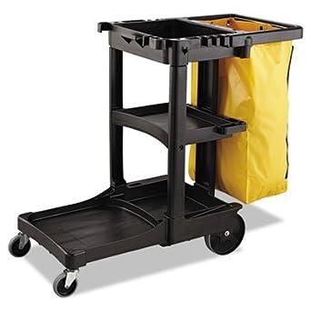 * Zippered Vinyl Cleaning Cart Bag, 21gal, 17 1/4w x 10 1/2d x 30 1/2h, Yellow