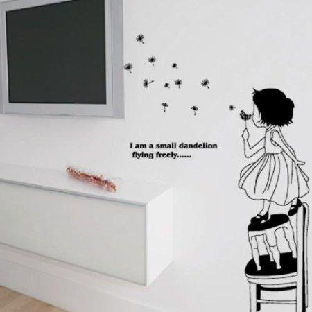 peel n stick dandelion flower girl wall art decal sticker. Black Bedroom Furniture Sets. Home Design Ideas