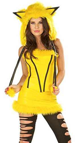 Sidney-Mujer-Pikachu-Cosplay-disfraz-Maquillaje-Halloween-Fiesta-Ropa