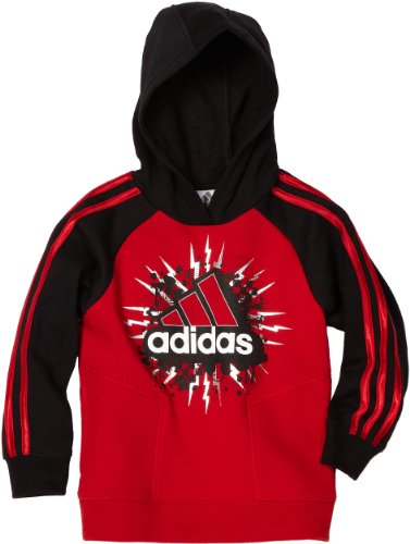 Adidas Boys 2-7 Fleece Hoodie, Red, 6