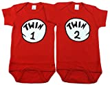 Gender Neutral Baby Onesies, Includes 2 Bodysuits, 0-3 Month Twin 1 Twin 2