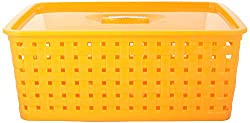 Pack of 2 Plastic Storage Basket with Lid (Yellow & Red)