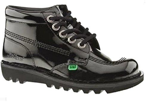 Kickers - Kick Hi, stivaletti stringati alla caviglia, da donna, modello college inglese, Nero (black patent), 42