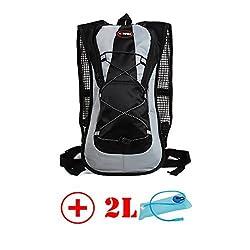 HMLifestyle Hydration packs for hiking hydration backpack Bladder Bag with 2L bladder Water Bag Lightweight Durable Black + 2L bladder