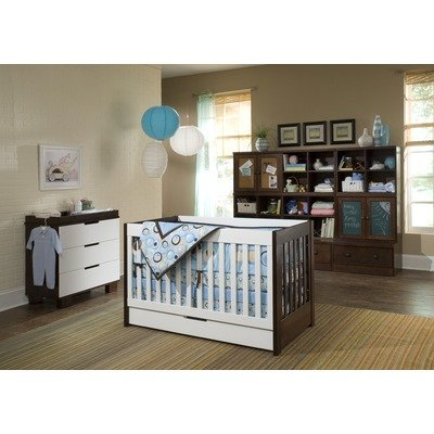 Mercer Two Piece Convertible Crib Nursery Set in White / Espresso