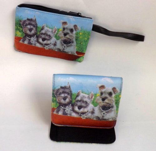 Holiday or Birthday Gift Dog Lovers Set of 2 Wallet & Wristlet for Teens & Adults