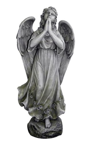 All Line Beautiful Angel Praying Statue, 30-Inch, Antique Grey
