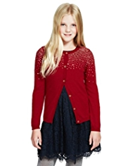 Autograph Stud Embellished Cardigan with Angora