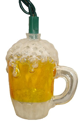 Set Of 10 Frosty Beer Mug Bar & Pub Christmas Lights - Green Wire