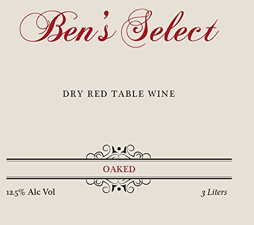 "Nv Ben Ish Winery ""Ben'S Select"" Dry Red Table Wine With Personalized Label 3 L"
