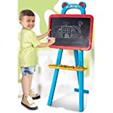 3 in1 Children Easel - Double Sided Easel with Magnetic Board and Chalk Board and Paper ties included - Educational and Learning Easel