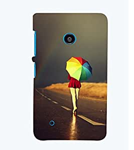 Printvisa Girl Walking With A Multicoloured Umbrella Back Case Cover for Nokia Lumia 530::Microsoft Lumia 530