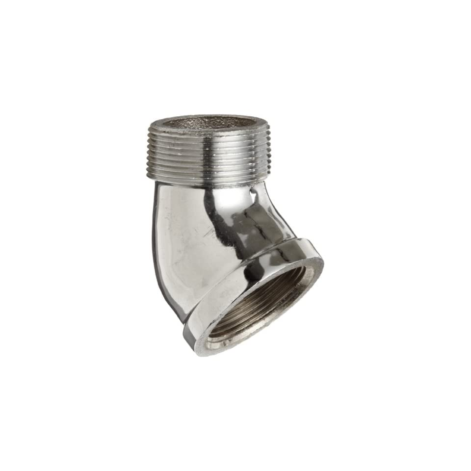 Chrome Plated Brass Pipe Fitting, 45 Degree Street Elbow, 1/2 NPT Male x Female