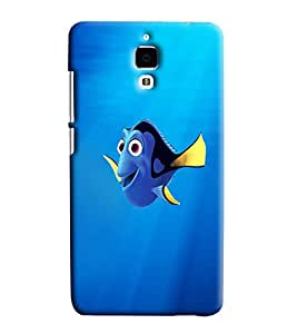 Blue Throat Fish Cartoon Printed Designer Back Cover/ Case For Xiaomi Mi4