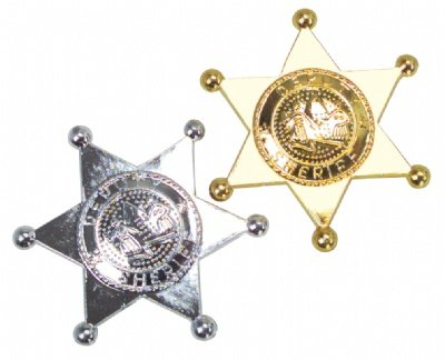 Plastic Sheriff Badge Gold and Silver 12 piece