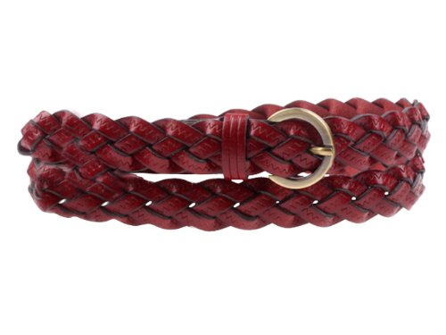 Herebuy - Designer Braided Leather Belts for Women Fashion Waist Belt (Wine)