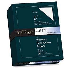 Southworth Fine Linen Paper, 25% Cotton, 24 lb, White, 500 Sheets (554C)