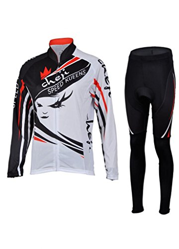 Ouo Women'S 100% Ployester Material Cycling Jersey Suit Fashion Long Sleeve Cycling Jersey Set