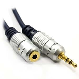 Pur cuivre desoxygéné HQ 3,5 mm Jack Vers Stéréo Jack Femelle d'extension Rallonge câble 5 m