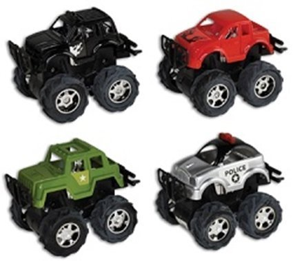 Pull Back MONSTER TRUCKS - 4 Pc Assorted- great stocking stuffers! - 1