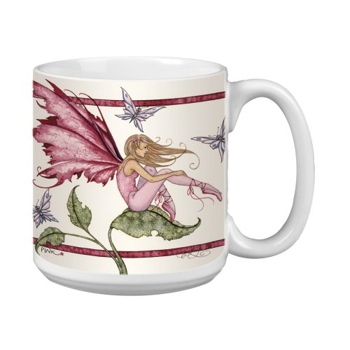 Tree-Free Greetings Xm27588 Amy Brown Artful Jumbo Mug, 20-Ounce, Fantasy Pink Fairy
