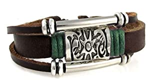 Green Accent Sun Medallion Leather Zen Bracelet, Fits 5.5 to 8