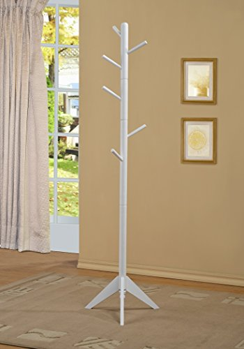 White Finish Coat Rack Hall Tree Purse Jacket (Coat Rack Tree compare prices)