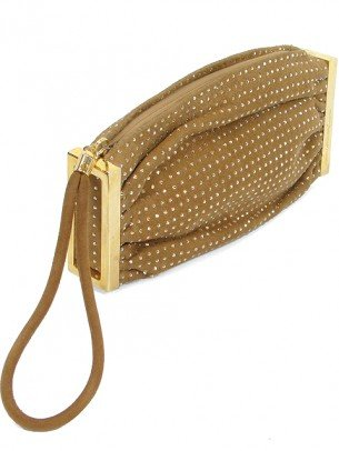 Brian Atwood Handbag – Sand Suede Crystal Encrusted Wristlet