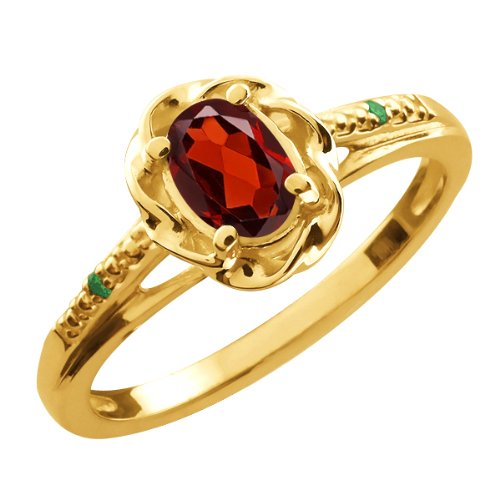 0.56 Ct Oval Red Garnet Green Diamond 18K Yellow Gold Ring