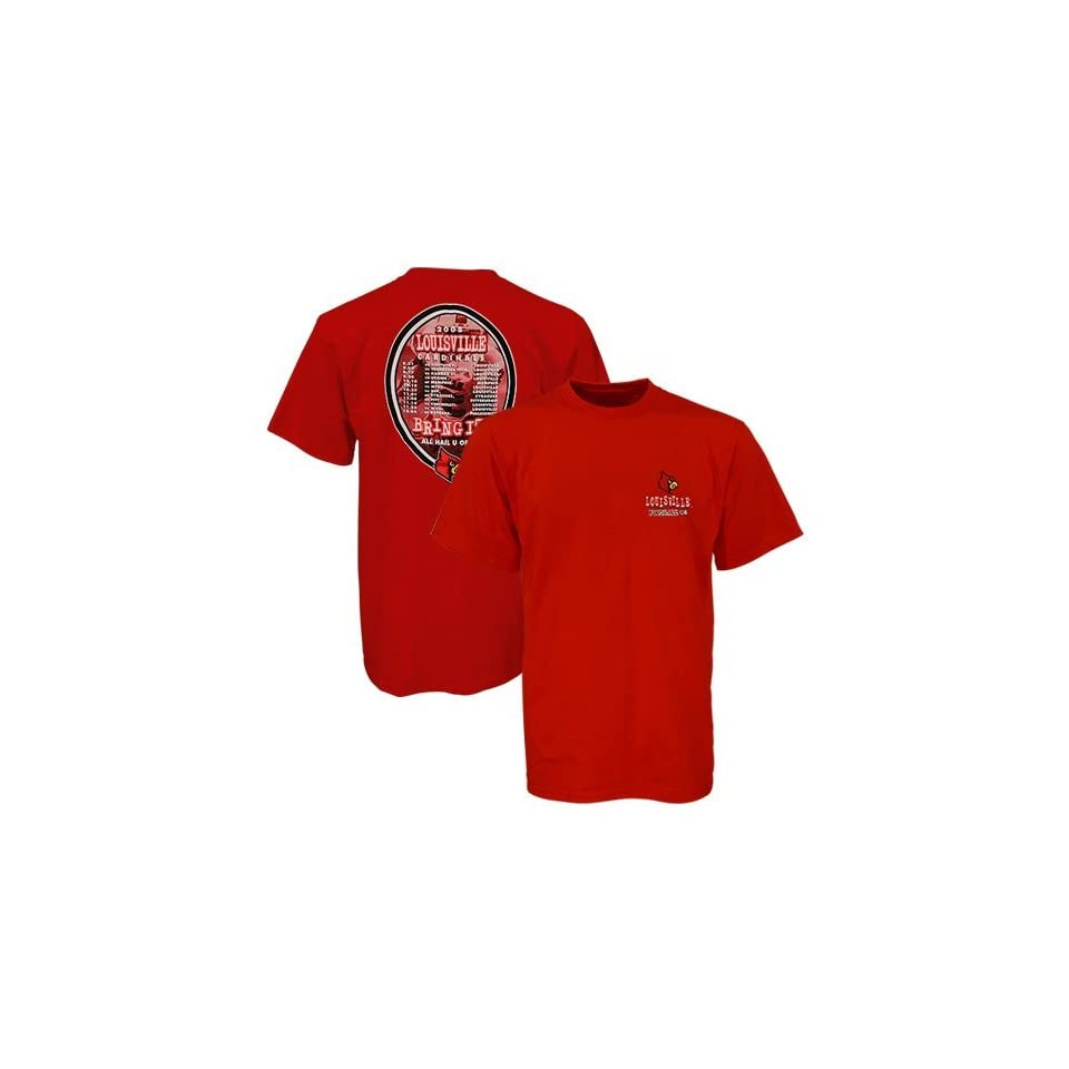 Louisville Cardinals Red 2008 Football Schedule Graphic T shirt