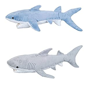 Set of 2 adventure planet jumbo plush sharks for Life size shark plush