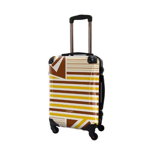 キャラート アートスーツケース ベーシック ベーシック カジュアルボーダー 4輪 機内持込 (CRA01-015H(ブラウン×ネーブルスイエロー))