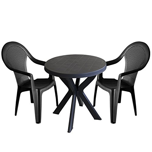 3tlg-Bistrogarnitur-Kunststoff-Gartentisch-70x72cm-2x-Stapelstuhl-Anthrazit-Terrassenmbel-Balkonmbel-Campingmbel-Set-Sitzgarnitur-Gartengarnitur