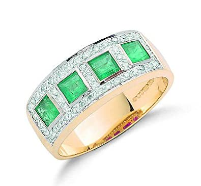9ct Yellow Gold Real Emerald Squares & Diamond Anniversary Ring 1.02ctw