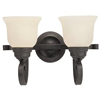 Sea Gull Lighting 44190-07 Serenity Two-Light Vanity, Weathered Iron Finish with Dusted Alabaster Glass
