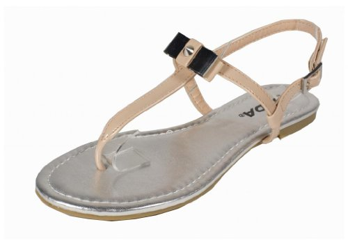 Marcus! By Soda Trendy T-Strap With Metallic Hardware Bow And Cone Stud Accent Flat Sandals, Nude Patent Leather, 6 M