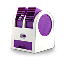 Diswa New Practic Durable 5V 2.5W Mini Small USB Cooling Fan Cooler Portable Desktop Dual Bladeless Air Conditioner USB Cooler Fan Purple