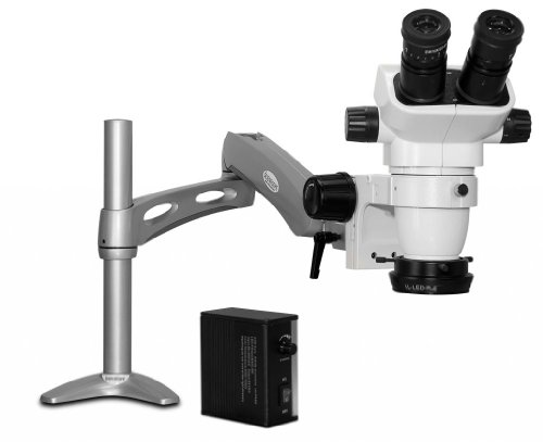 Scienscope Sz-Pk3-Led Ssz-Ii Pk3 Series Stereo Zoom Binocular Microscope With Body On Pneumatic Cf Articulating Arm Stand, 10X Eyepieces, 0.5X Auxiliary Lens, Led Adjustable Ring Light Illuminator With Power Supply
