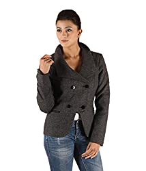 Owncraft Women's Woolen Jacket (Own_439_Grey_Large)
